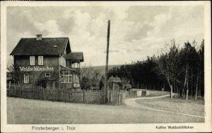 Ak Finsterbergen Friedrichroda Thüringen, Kaffee Waldschlößchen, Straßenpartie