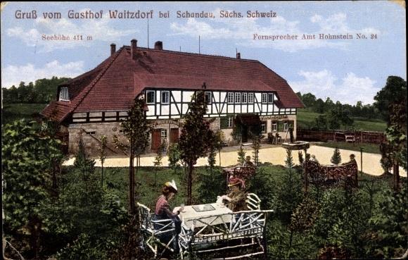 Ak Waitzdorf Hohnstein in der Sächsischen Schweiz, Gasthof Waitzdorf ...