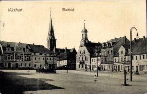 Ak Wilsdruff Sachsen, Marktplatz, Rathaus, Kirche, Schänke Alte Post, Apotheke, Bäckerei, Geschäfte