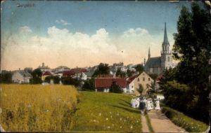 Ak Burgstädt in Sachsen, Wegpartie mit Blick zur Kirche