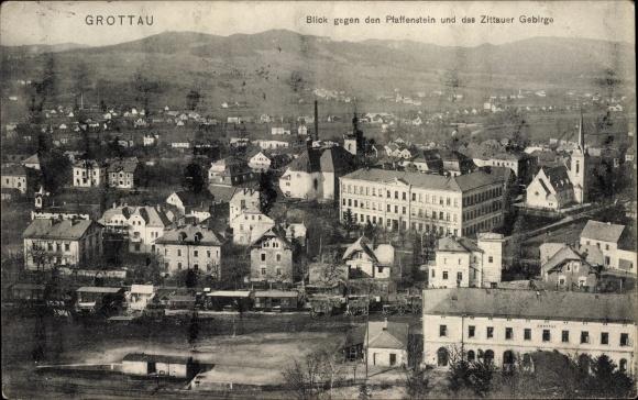 Ak Hrádek nad Nisou Grottau Reg. Reichenberg, Blick gegen Pfaffenstein, Zittauer Gebirge