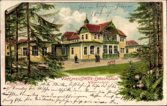 Künstler Litho Spindler, Erwin, Carolagrün Auerbach im Vogtland, Volksheilstätte Carolagrün