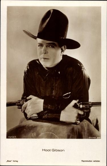 Ak Schauspieler Hoot Gibson, Portrait, Cowboy, Pistolen, Ross Verlag 4212/1