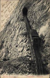 Ak Kanton Obwalden, Pilatusbahn an der Eselwand, Zahnradbahn, Tunnel