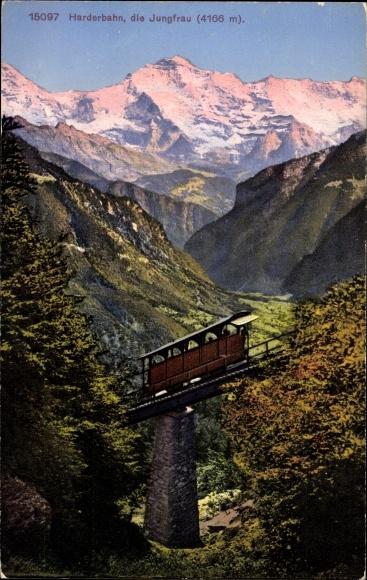 Ak Kanton Bern, Blick zur Harderbahn, Standseilbahn, Jungfrau