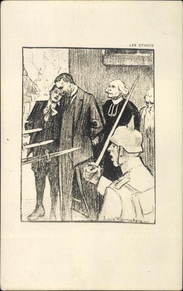 Künstler Ak Raemaekers, Louis, Niederländische Propaganda, Les Otages, Hostages before firing squad