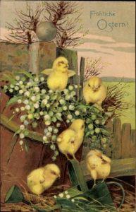 Präge Litho Glückwunsch Ostern, Fünf Küken, Fass, Gießkanne