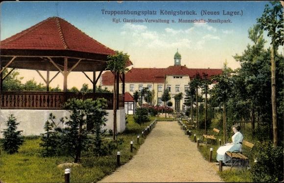 Ak Königsbrück in der Oberlausitz, Truppenübungsplatz, Neues Lager, Musikpark, Verwaltung
