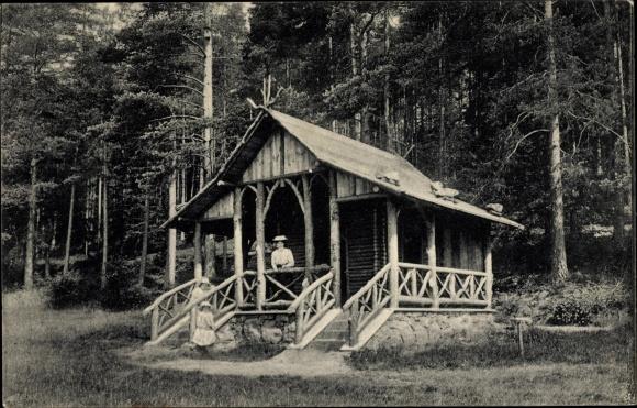 Ak Bad Elster im Vogtland, Blockhütte im Zeidelweidtale