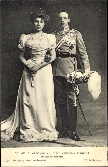Ak SS. MM. D. Alfonso XIII y Dona Victoria Eugenia, Victoria Eugénie von Battenberg