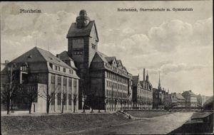 Ak Pforzheim im Schwarzwald Baden Württemberg, Reichsbank, Oberrealschule mit Gymnasium