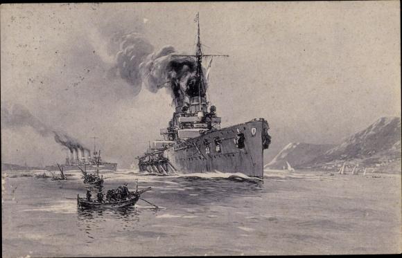 Künstler Ak Stöwer, Willy Deutsche Kriegsschiffe, SMS Goeben, SMS Breslau, Messina
