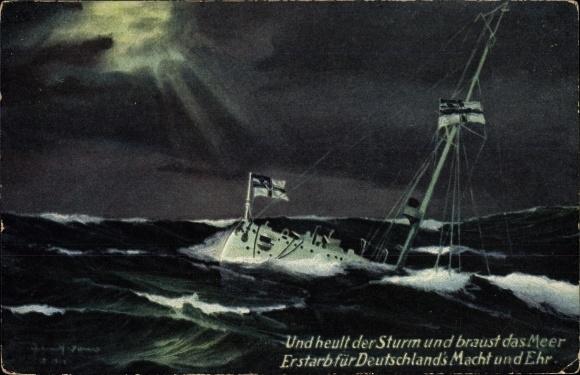 Künstler Ak Deutsches Kriegsschiff, Und heult der Sturm und braust das Meer, Kaiserliche Marine
