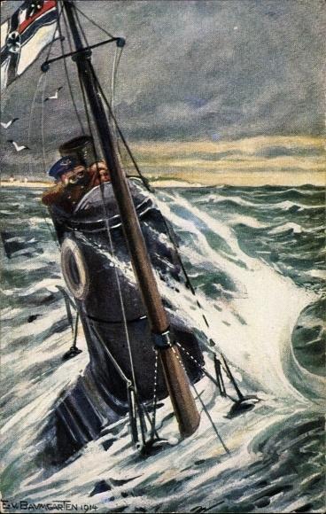 Künstler Ak von Baumgarten, E., Deutsches U Boot auf Patrouille an Engl. Küste, Kaiserliche Marine