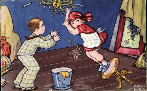 Künstler Ak Boriss, Margret, Mädchen beim Reinigen eines Deckenleuchters, Unfall, Hocker, Amag 0381