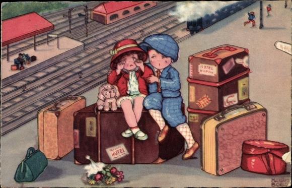 Künstler Ak Boriss, Margret, Reisende am Bahnhof, Abschied, Amag 0320