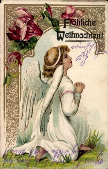 Ak Frohe Weihnachten, Betender Engel, Blüten