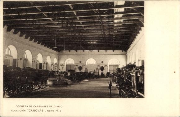 Ak Spanien, Cochera de Carruajes de Diario, Kutschen in einer Halle