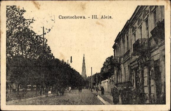 Ak Częstochowa Tschenstochau Schlesien, III. Aleja, Straßenpartie in der Stadt