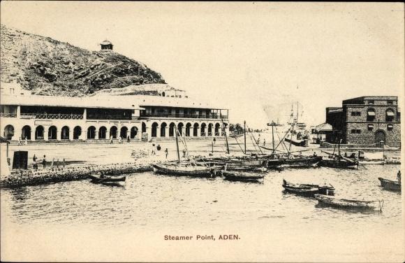 Ak Aden Jemen, Steamer Point, Blick auf den Hafen