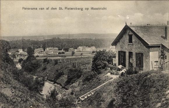 Ak Maastricht Limburg Niederlande, Panoramaausblick vom St. Pietersberg auf die Stadt
