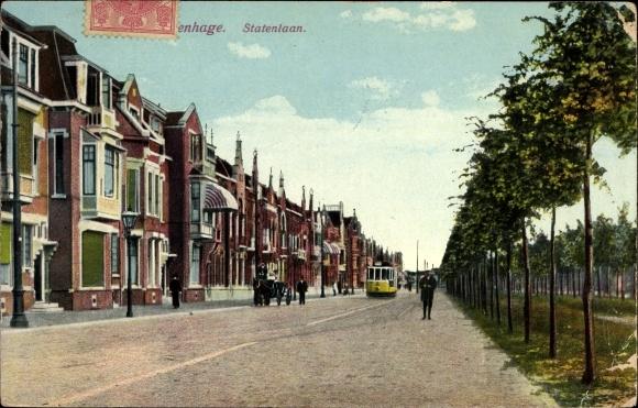Ak 's Gravenhage Den Haag Südholland, Statenlaan, Straßenbahn, Wohnhäuser