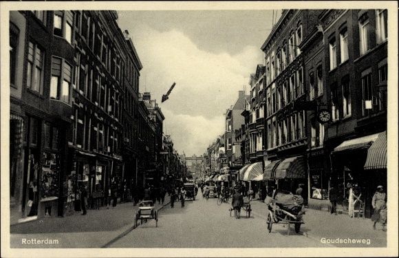 Ak Rotterdam Südholland Niederlande, Goudscheweg, Blick in die Geschäftsstraße, Passanten