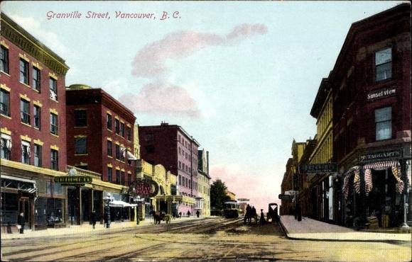 Ak Vancouver British Columbia Kanada, Granville Street, Sunset View, Geschäfte