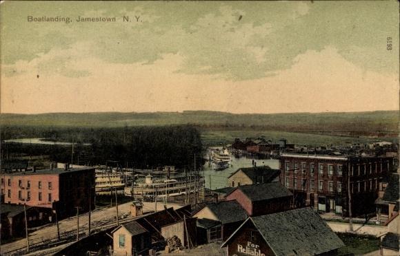 Ak Jamestown New York USA, Boatlanding, Dampferanlegestelle, Teilansicht der Stadt