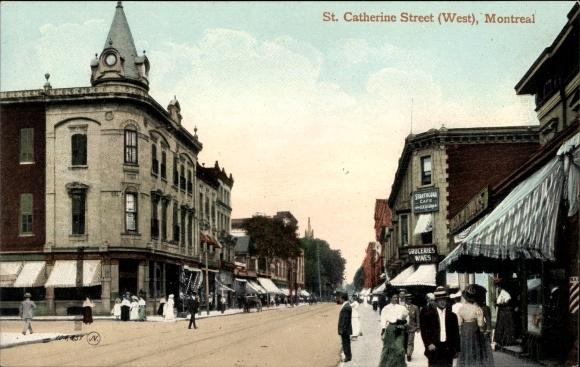 Ak Montreal Québec Kanada, St. Catherine Street West, Strathcona Cafe, Geschäfte, Passanten
