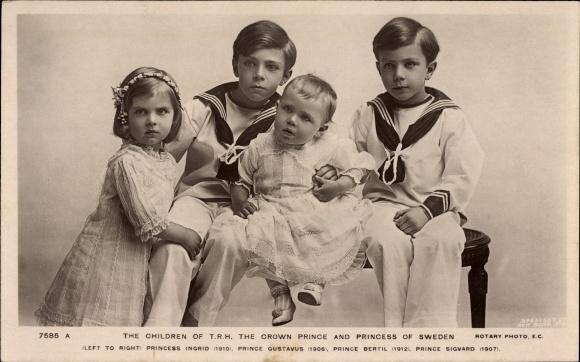 Ak The Children of TRH the Crown Prince and Princess of Sweden, Kinder Gustav Adolf V.