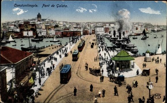 Ak Konstantinopel Istanbul Türkei, Pont de Galata, Brücke