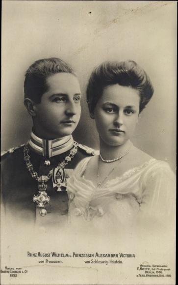 Ak August Wilhelm Prinz von Preußen, Prinzessin Alexandra Victoria von Schleswig Holstein, Liersch
