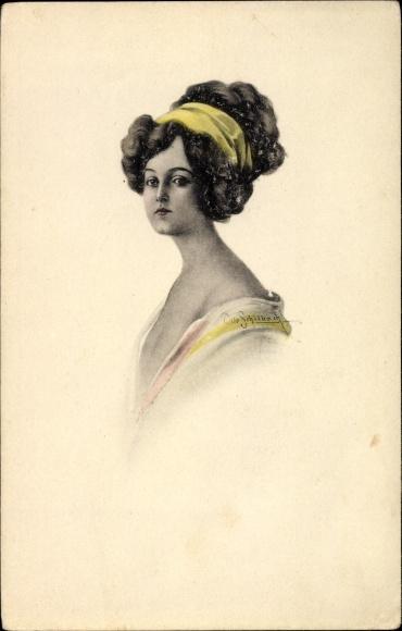 Künstler Ak Schilbach, Otto, Portrait einer jungen Frau, Gelbes Haarband