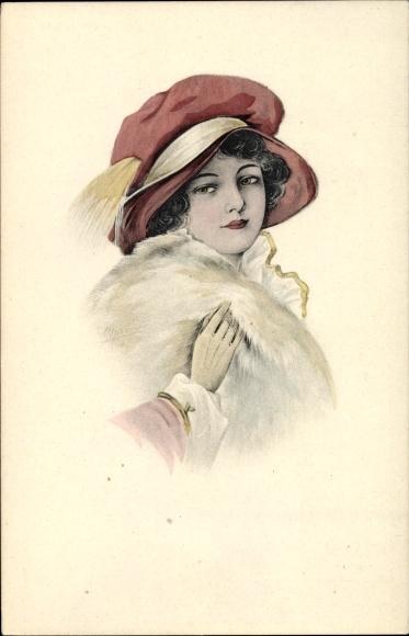 Künstler Ak Schilbach, Otto, Portrait einer jungen Frau, Roter Damenhut