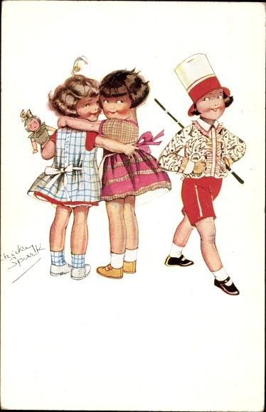 Künstler Ak Spark, Chicky, Zwei Mädchen, Junge in Zylinder