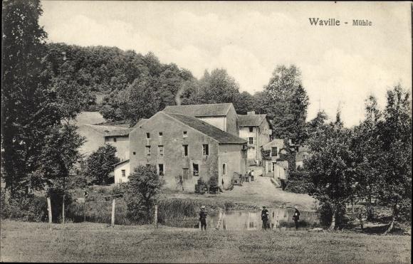 Ak Waville Lothringen Meurthe et Moselle, Blick auf die Mühle