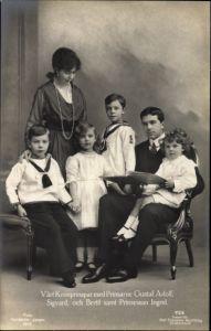 Ak Schwedisches Kronprinzenpaar, Gustav Adolf, Margaret of Connaught, Kinder