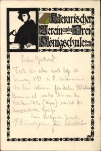 Studentika Ak Dresden Zentrum Altstadt, Literarischer Verein an der Drei König Schule