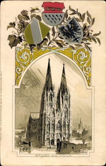 Präge Wappen Künstler Litho Trübe, Maxim, Köln am Rhein, Blick auf den Dom