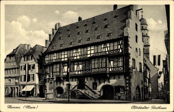 Ak Hanau im Main Kinzig Kreis Hessen, Altstädter Rathaus, Fachwerkbau