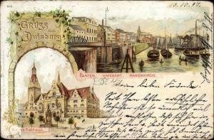 Litho Duisburg im Ruhrgebiet, Hafen, Hafenamt, Marienkirche, Neues Rathaus