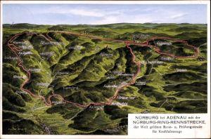 Landkarten Ak Felle, Eugen, Nürburg Rheinland Pfalz, Nürburgring, Rennstrecke für Kraftfahrzeuge