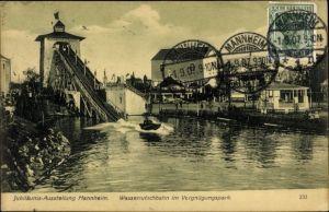 Ak Mannheim, Jubiläumsausstellung 1907, Wasserrutschbahn im Vergnügungspark