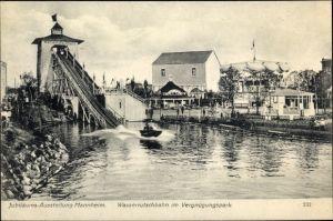 Ak Mannheim, Jubiläumsausstellung 1907, Wasserrutschbahn im Vergnügungspark, Karussell