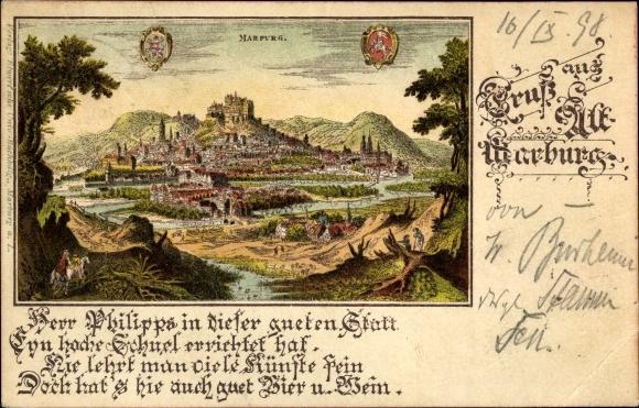 Künstler Litho Marburg an der Lahn, Historische Ansicht der Stadt