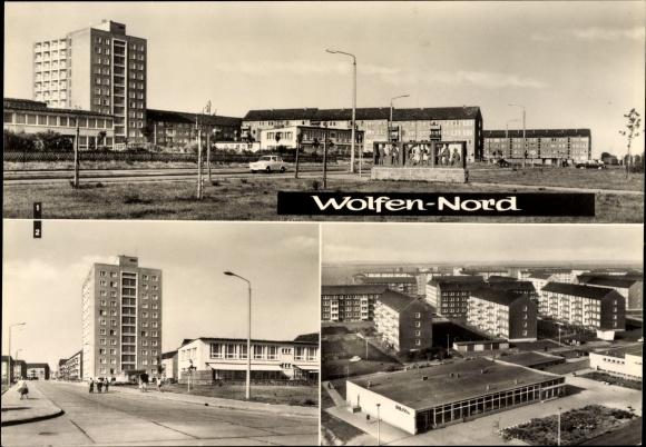 Ak Wolfen Nord in Sachsen Anhalt, Straße der Chemiearbeiter, Straße der Republik mit Kinderkrippe