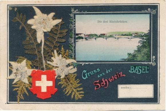 Material Ak Bâle Basel Stadt Schweiz, Die drei Rheinbrücken, Edelweiß Blüten