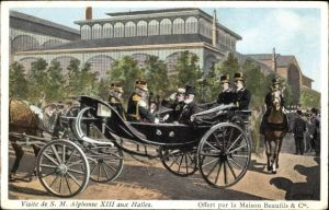 Künstler Ak Kossuth, Visite de S. M. Alphonse XIII aux Halles, König Alfons XIII von Spanien