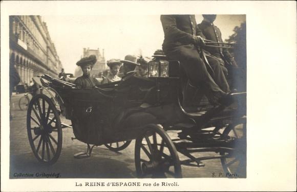 Ak Prais, La Reine d'Espagne, rue de Rivoli, Victoria Eugénie von Battenberg, Königin von Spanien